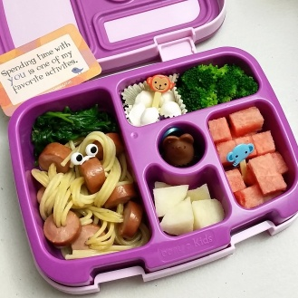 """09.14.17    """"Octopus spaghetti"""" (as she likes to call it); sautéed spinach; Belgioioso cheese mozzarella pearls; steamed broccoli; watermelon; Asian pear; and a little milk chocolate mouse from Burdick Chocolate for a treat!"""