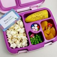 09.15.17    This was more of a supplement to the pizza lunch she wanted to get from the cafeteria, plus her snack (usually it's bagged separately). Popcorn; 1/2 a banana; peaches; sweet peas; and some M&Ms as a treat