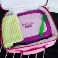 "The Bentgo kids box measures roughly 8.5"" wide x 6.5"" tall x 2"" deep so it fits into her lunch bag easily. There's still room for a juice box and a small snack container too."