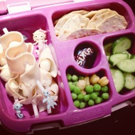 09.06.17 || I wanted today's #bentgolunchbox to be extra special since it's her first day kindergarten. I made little skewers of turkey and small mozzarella cheese balls; water crackers; sliced cucumbers; peas and chickpeas; and a little pack of Sixlets. Plus a juice box and some popcorn and goldfish crackers for snack time.