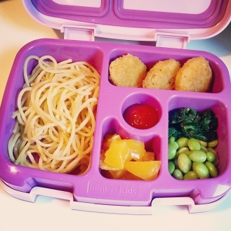 09.08.17    Happy FriYay, everyone! Woo hoo, first week down! The plan is for her to buy lunch at school on Fridays but her teachers encouraged bringing lunch the first week until the kids get acclimated to the lunch process, how the cafeteria works, etc. So it was another packed lunch for today: leftover spaghetti noodles with butter and cheese; Tyson panko crusted chicken nuggets; sautéed spinach; edamame; diced peaches; and ketchup.