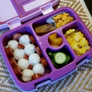 09.11.17    Luckily, our girl enjoys leftovers! 😊 Made lunch prep for Monday a breeze! Rice balls; grilled turkey hot dog; a chocolate chip cookie bar treat from Trader Joe's; goldfish crackers; sliced corn from a cob; cucumbers; and diced peaches.