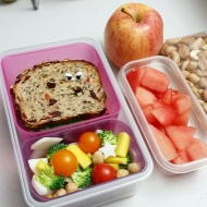 09.28.17    The hubby hasn't been feeling well the past couple of days so I made sure to pack lots of fruit and veggies in his lunch today. I couldn't help myself and stuck a pair of eyes on the sandwich - I wonder if he'll notice! Ha!! - Tuna sandwich on marathon bread from Wegmans; cut up carrots and turnips from our Lexington Community Farm CSA share, cherry tomatoes hand picked by our daughter, chickpeas, and some raw broccoli; a gala apple; watermelon; and a bag of almonds and cashews
