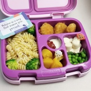 10.02.17    Pasta with butter and steamed broccoli; chicken nuggets; cut up cheese stick; sweet peas; diced peaches; and a well of ketchup + ranch dressing. Yes, she will mix it up and make her own special sauce!