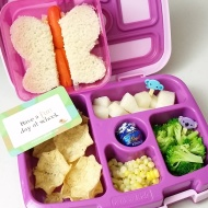 10.10.17    A cute butterfly sandwich cutter for her egg sandwich with a carrot stick body; filled the large section of the #bentgolunchbox with scoop chips; diced Asian pear (they are so ripe and juicy right now); steamed broccoli; fresh corn grown at Verrill Farm; and a Lindt Chocolate ball as a treat