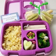 10.11.17    Little ditalini shaped pasta with butter and cheese; a couple of turkey rollups; steamed broccoli; heart shaped cucumber slices; and edamame . Plus some crispy peas and breadsticks for snack time in a plastic bag made to look like a butterfly