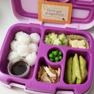 10.12.17    Rice balls with a little container of ponzu sauce for dipping (don't worry, there a separate lid for it); cucumber stars; animal crackers; crispy pea snack; shredded chicken; and sweet peas