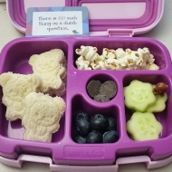 11.14.17    Ham and cheese sandwich cut into little bears; popcorn; cucumber flowers; jumbo blueberries; and a few Guittard chocolate chips as a treat