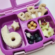 11.21.17    Ham and cheese sandwich; alphabet cookies to spell out party 6; cucumber stars; jumbo blueberries; and some chickpeas