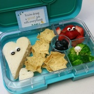 12.04.17    Turkey and cheese sandwich swimming in pool of scoop chips (which, she reported after school, got a little soggy from touching the sandwich); strawberries; steamed broccoli; and jumbo blueberries
