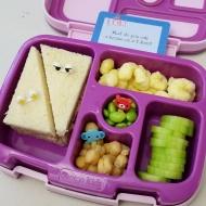 12.19.17    Tuna sandwich; pirate's booty; sliced cucumbers; chickpeas; and edamame