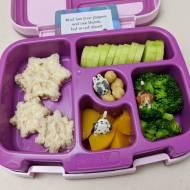 01.03.18    Tuna sandwich snowflakes; sliced cucumber; steamed broccoli; diced peaches; chickpeas