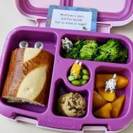 01.29.18 :: Tuna sandwich on her favorite pretzel bread; steamed broccoli; diced peaches; mini chocolate chip cookies; edamame