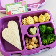 02.05.18 :: Heart shaped tuna sandwich; some Poppable chips; steamed broccoli; chickpeas; and heart shaped sliced cucumbers